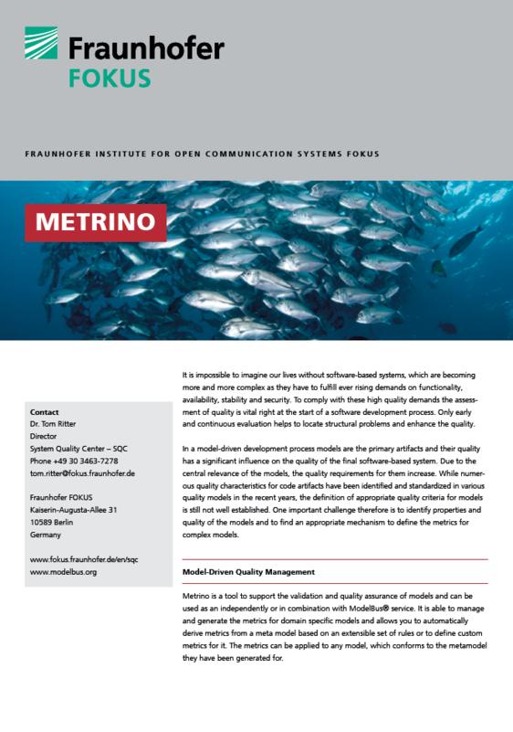 Screenshot Project information Metrino