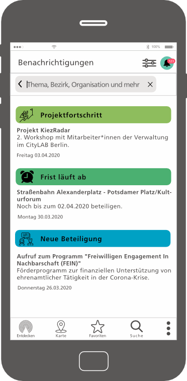 DPS, Projekte, Mockup Kiezradar Benachrichtigungen, 1.6.2021