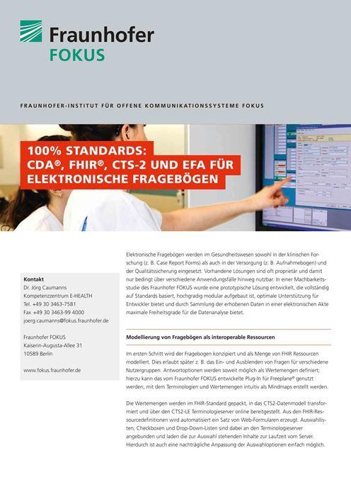 E-HEALTH Produktblatt 100% Standards 2015