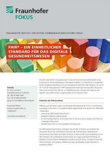 E-HEALTH ProduktblattFHIR® Standard 2015