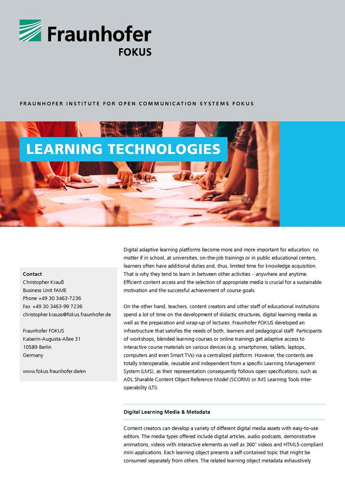fraunhofer fokus fame solutions learning technologies