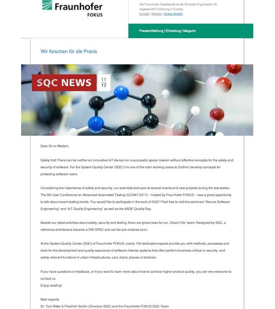 Fraunhofer FOKUS, SQC | Newsletter