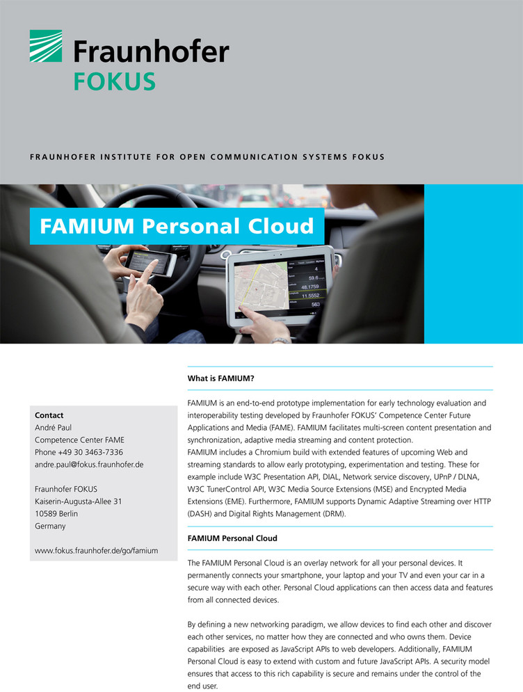 FAME FAMIUM Personal Cloud flyer 2014 Cover