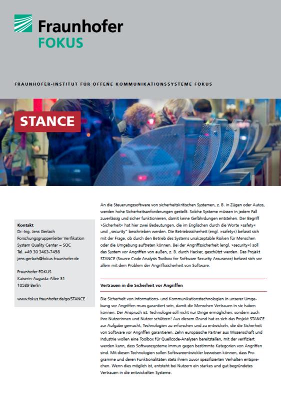 Screenshot Projektblatt STANCE