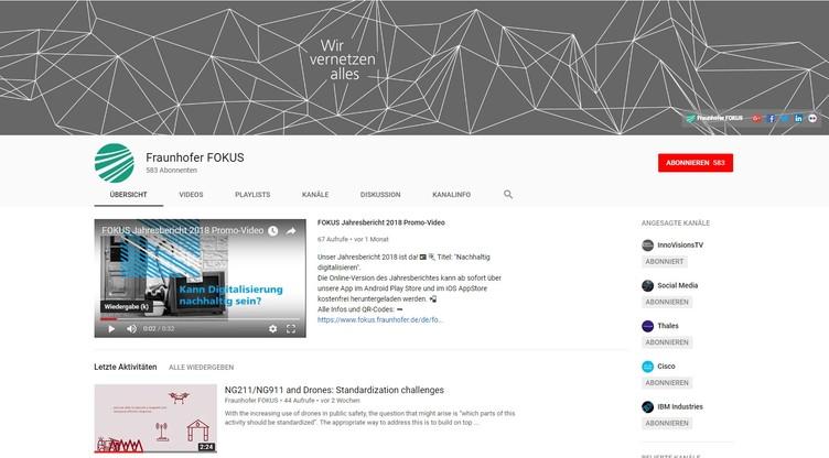 Youtube-Kanal von Fraunhofer FOKUS
