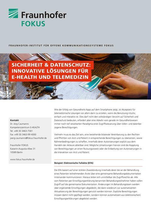 E-HEALTH Produktblatt Sicherheit und Datenschutz 2015