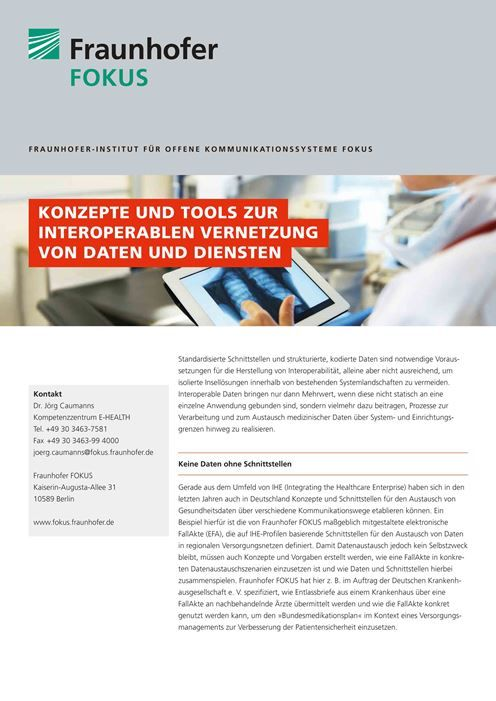 E-HEALTH Produktblatt Interoperabilität interoperable Vernetzung 2015