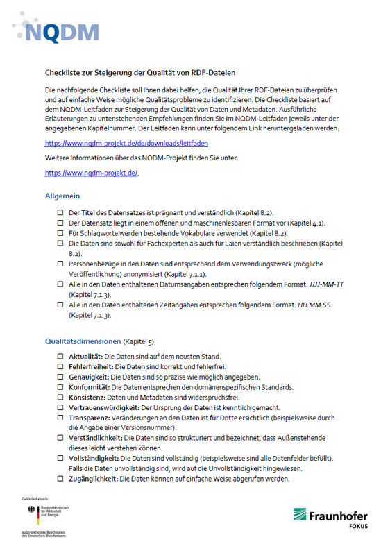 NQDM Checkliste RDF Titelbild