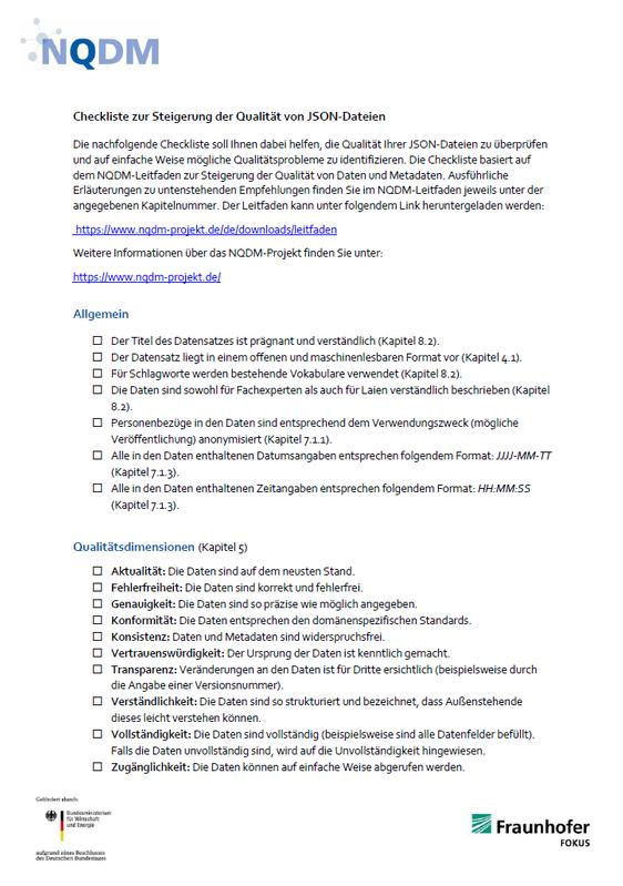 NQDM Checkliste JSON Titelbild
