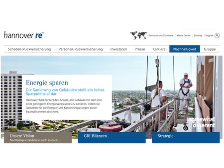 Screenshot Website Hannover Rückversicherung