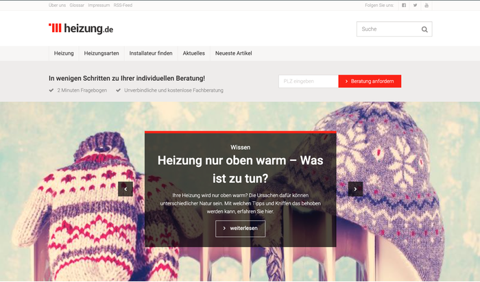 The website heizung.de offers its visitors a personality test. The visitor answers six questions and then learns which heating system is suitable for his heating needs.