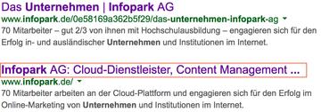 Seitentitel, der bei Google angezeigt und gekürzt wird. Gutes und schlechtes Beispiel.