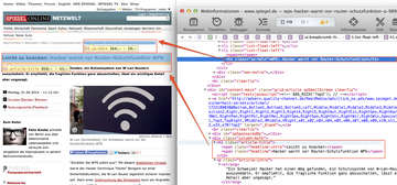 Beispiel für das kreative Verwenden von HTML-Überschriften. Spiegel Online verwendet die Hauptüberschrift (h1) in der Bread-Crumb-Navigation. Die Überschrift, bei der die h1 vermutet wird, ist die h2-Überschrift.