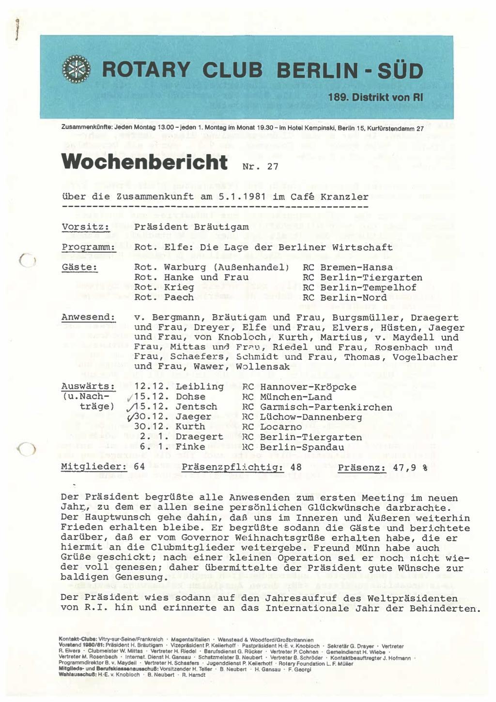Wochenberichte von 1981