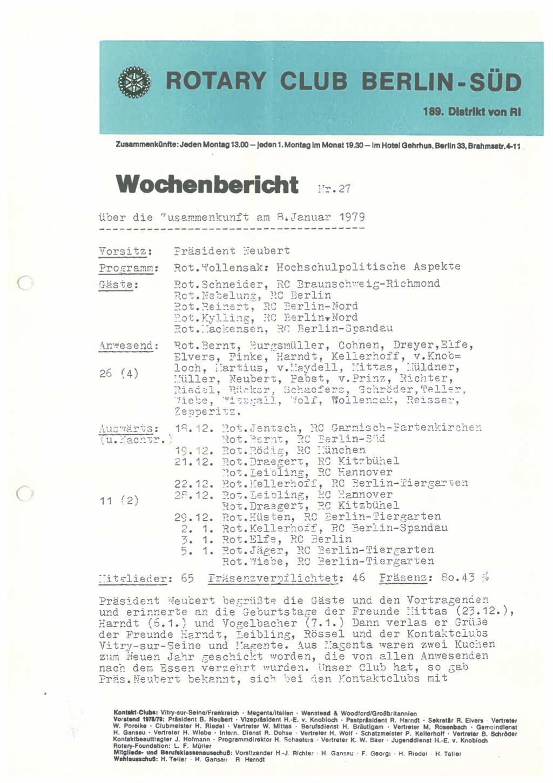 Wochenberichte von 1979