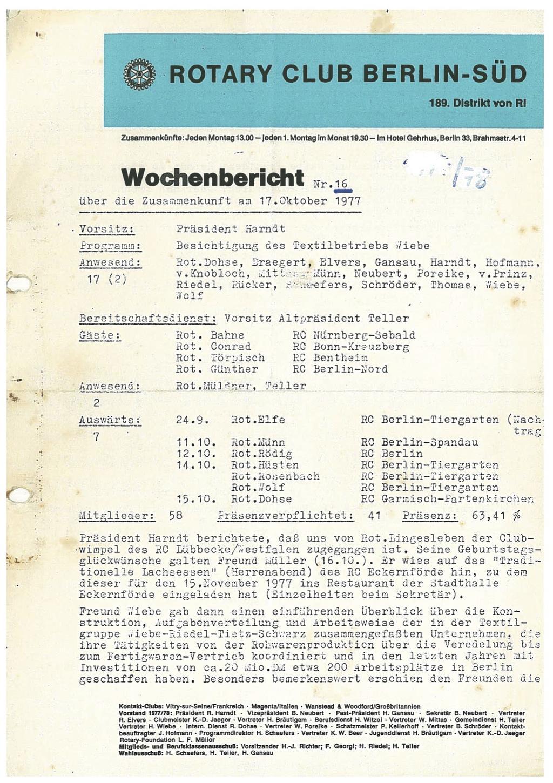 Wochenberichte von 1977
