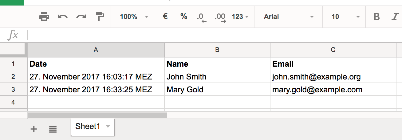 Creating a Form Widget that Saves the Input to a Google Sheet
