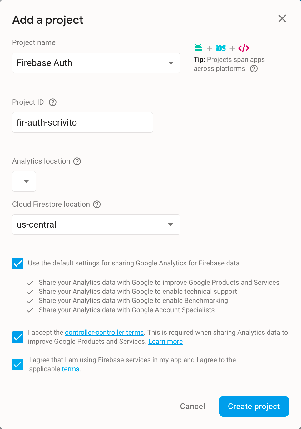 Integrating Google Firebase Auth