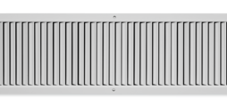 Wandrooster van staalplaat met afzonderlijk verstelbare verticale lamellen