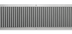 Lüftungsgitter aus verzinktem Stahlblech mit einzeln verstellbaren senkrechten Lamellen für Rohreinbau