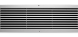 Ball impact resistant ventilation grille made of aluminium, with fixed horizontal blades