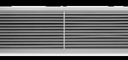 Lüftungsgitter aus Aluminium mit einzeln verstellbaren waagerechten Lamellen und diffusorartigem Frontrahmen