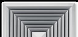 Pour soufflage quatre directions, avec ailettes de diffusion fixes – façade en aluminium