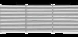 Parrilla de aluminio con lamas horizontales fijas