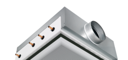 Active chilled beam with four-way air discharge and horizontal heat exchanger, suitable for grid ceilings with grid size 600 or 625