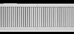 Lüftungsgitter aus Stahlblech mit einzeln verstellbaren senkrechten Lamellen
