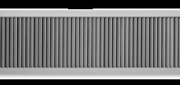 Wandrooster van aluminium met afzonderlijk verstelbare verticale lamellen