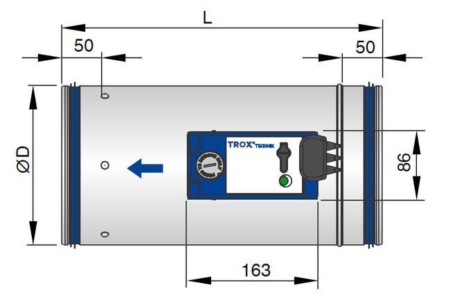 VAV terminal unit without acoustic cladding (TVE)