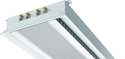 Super flat active chilled beam with two-way air discharge and horizontal heat exchanger, suitable for grid ceilings with grid size 600 or 625