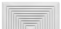 Voor vierzijdige horizontale inblaas, met vaste lamellen - frontrooster van staalplaat