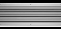 Überströmgitter aus Aluminium mit feststehenden waagerechten Lamellen als Sichtschutz