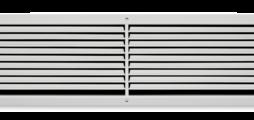 Wandrooster van plaatstaal met afzonderlijk verstelbare horizontale lamellen