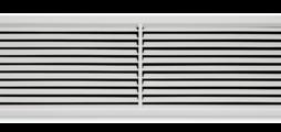 Lüftungsgitter aus Stahlblech mit einzeln verstellbaren waagerechten Lamellen und diffusorartigem Frontrahmen – auch als Gitterband