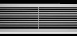 Wandrooster van aluminium met afzonderlijk verstelbare horizontale lamellen