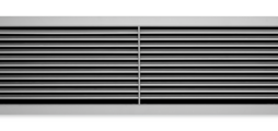 Ventilation grilles, made of aluminium, with individually adjustable, horizontal blades