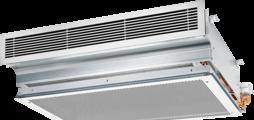 Einseitig ausströmender Deckeninduktionsdurchlassals leise Alternative zu Fan Coil Units mit zweihorizontalen Wärmeübertragervarianten fürverschiedene Leistungsbereiche