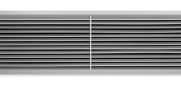 Wandrooster van aluminium met afzonderlijk verstelbare horizontale lamellen en diffusorvormig frontraam