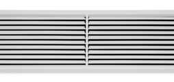 Ventilation grilles, made of sheet steel, with individually adjustable, horizontal blades and diffuser-type front border – also for horizontal runs
