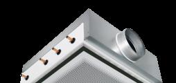 Vierzijdig uitblazend plafondinductierooster voor 600 en 625 plafondraster met horizontale warmtewisselaar